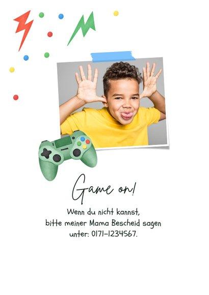 Einladungskarte Kindergeburtstag Gamer Party 2