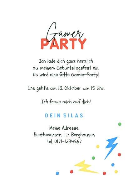 Einladungskarte Kindergeburtstag Gamer Party 3