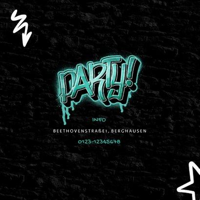 Einladungskarte Kindergeburtstag Graffiti Party mit Foto 2