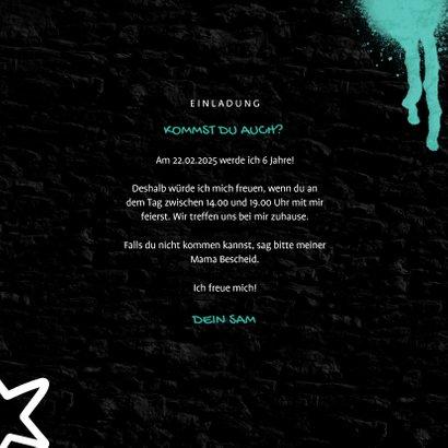 Einladungskarte Kindergeburtstag Graffiti Party mit Foto 3