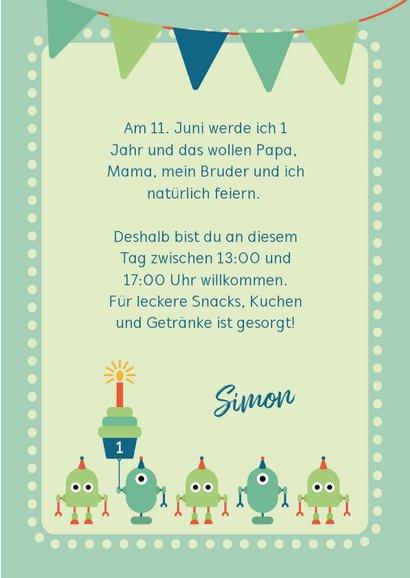 Einladungskarte Kindergeburtstag kleine Roboter 3