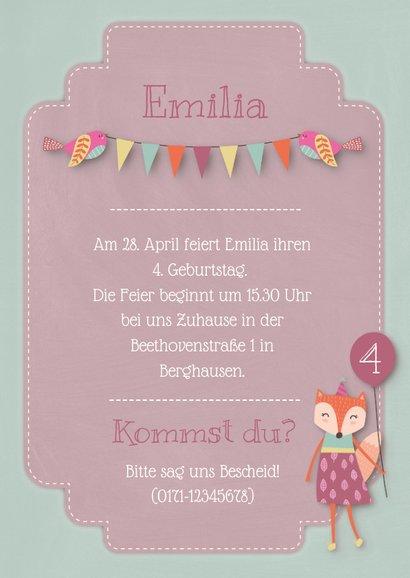 Einladungskarte Kindergeburtstag kleiner Fuchs Mädchen 3