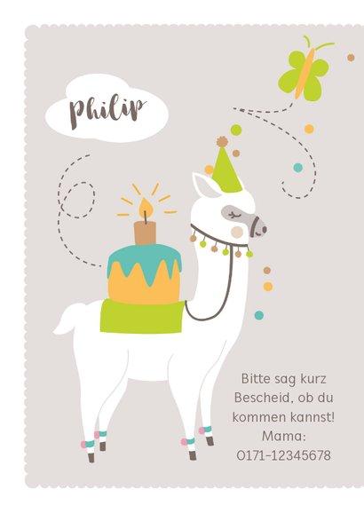 Einladungskarte Kindergeburtstag lustiges Lama braun 2