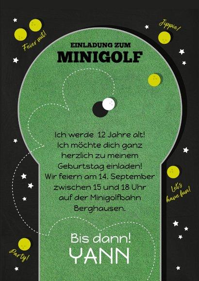 Einladungskarte Kindergeburtstag Minigolf 3