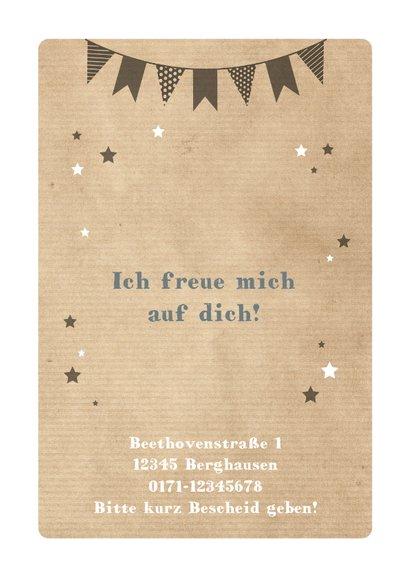 Einladungskarte Kindergeburtstag Partybär und Sterne 2