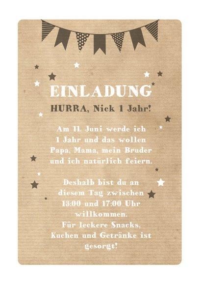 Einladungskarte Kindergeburtstag Partybär und Sterne 3