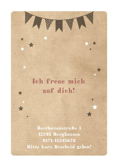 Einladungskarte Kindergeburtstag Partykatze und Sterne 2