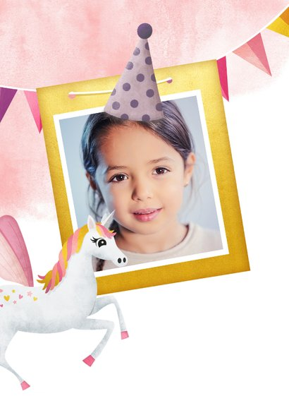 Einladungskarte Kindergeburtstag rosa Einhorn und Girlanden 2