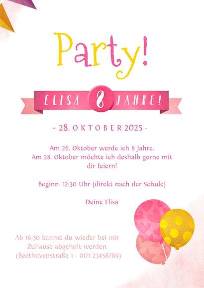 Einladungskarte Kindergeburtstag rosa Einhorn und Girlanden 3