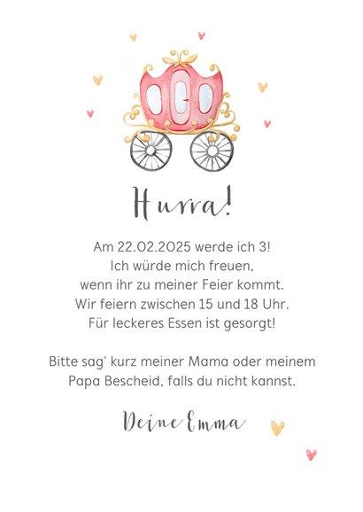 Einladungskarte Kindergeburtstag rosa Kutsche 3