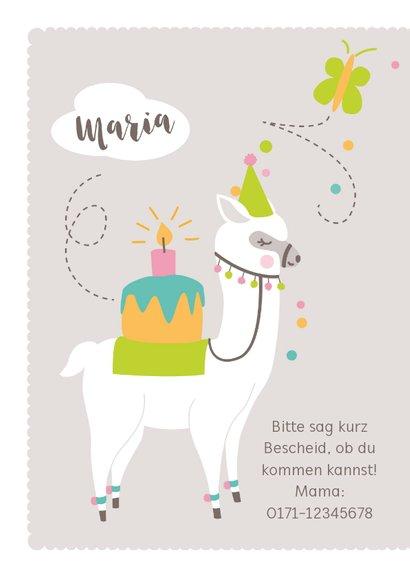 Einladungskarte Kindergeburtstag rosa lustiges Lama 2