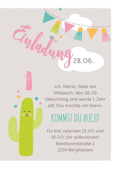 Einladungskarte Kindergeburtstag rosa lustiges Lama 3