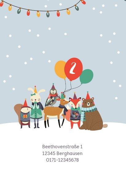 Einladungskarte Kindergeburtstag Wintertiere mit Luftballons 2