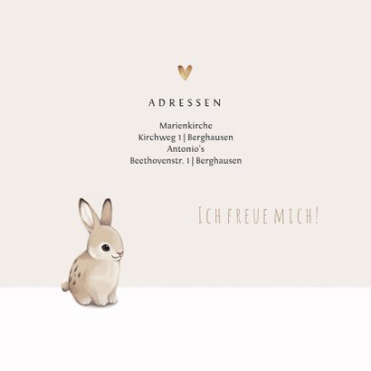 Einladungskarte Kommunion Foto und Kaninchen 2