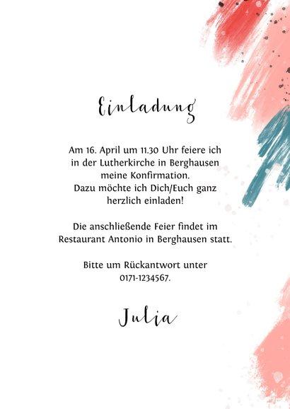 Einladungskarte Konfirmation Foto bunte Farbflecken 3