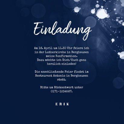 Einladungskarte Konfirmation Foto dunkelblau 3