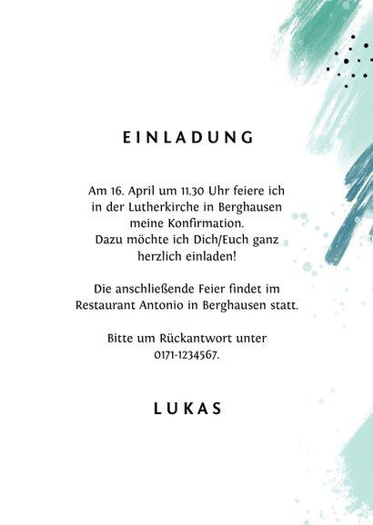 Einladungskarte Konfirmation Foto grüne Farbflecken 3