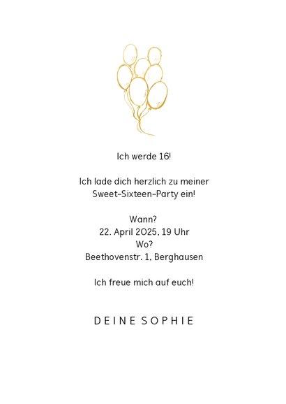 Einladungskarte mit Foto Sweet Sixteen 3