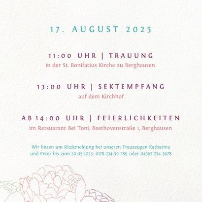 Einladungskarte mit Pfingstrosen 2