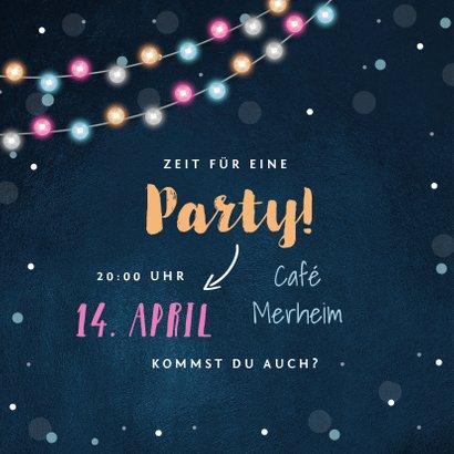 Einladungskarte Party bunte Lichter und zwei Fotos 2
