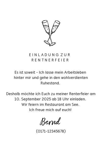 Einladungskarte Renteneintritt 'work hard - play harder' 3