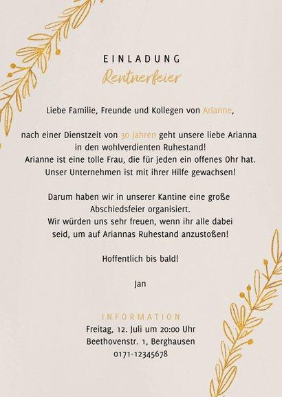 Einladungskarte Rentnerfeier goldene Zweige und Foto 3