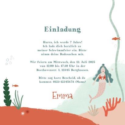 Einladungskarte Schwimmfest Meerjungfrau und Foto 3