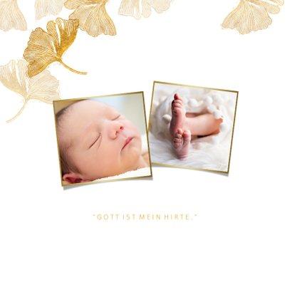 Einladungskarte Taufe Foto & Ginkgo Stempel 2