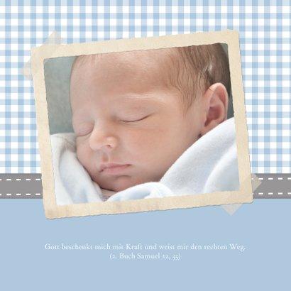 Einladungskarte Taufe Foto und Karos blau 2