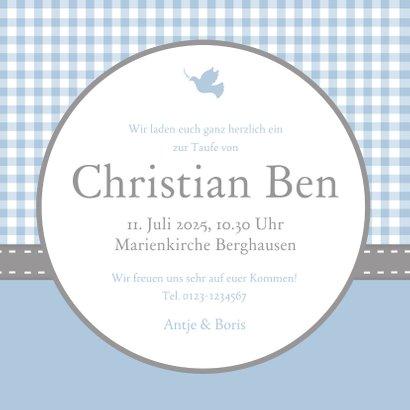 Einladungskarte Taufe Foto und Karos blau 3