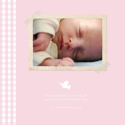 Einladungskarte Taufe Foto und Karos rosa 2