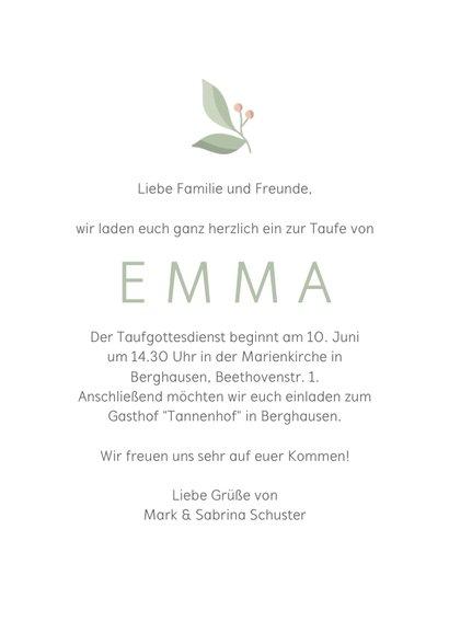 Einladungskarte Taufe Initiale weiß Foto innen 3