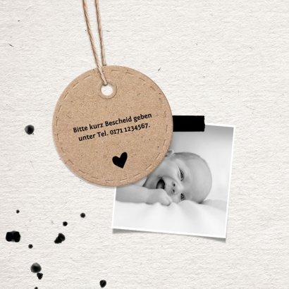 Einladungskarte Taufe Kartonlook Foto & Anhänger 2