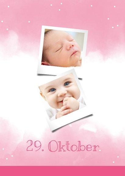Einladungskarte zum 1. Geburtstag rosa Wasserfarbe mit Fotos 2