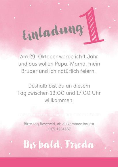 Einladungskarte zum 1. Geburtstag rosa Wasserfarbe mit Fotos 3