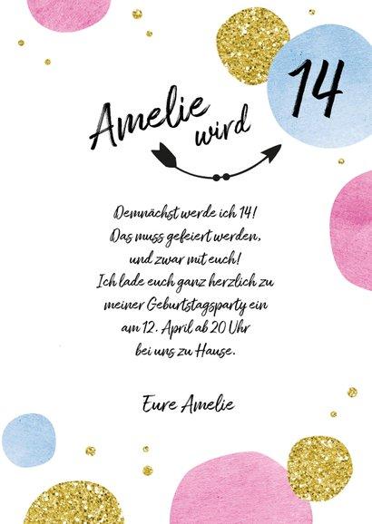Einladungskarte zum 14. Geburtstag Kreise 3