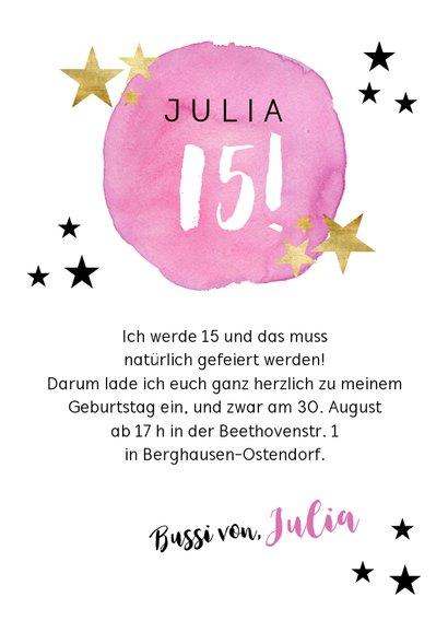Einladungskarte zum 14. Geburtstag mit Sternen 3