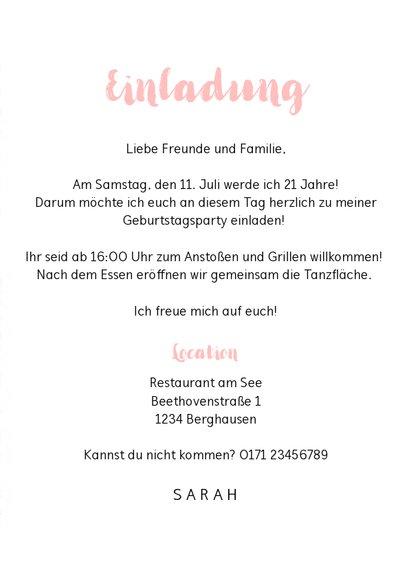 Einladungskarte zum 21. Geburtstag rosa-weiß 3