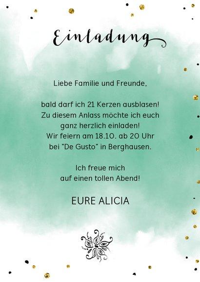 Einladungskarte zum 21. Geburtstag Wasserfarbe mit Foto 3