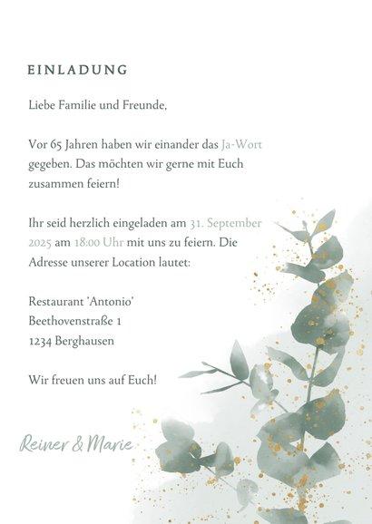 Einladungskarte zum 65. Hochzeitstag mit Foto 3