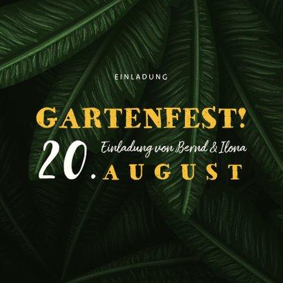 Einladungskarte zum Gartenfest Palmblätter 2