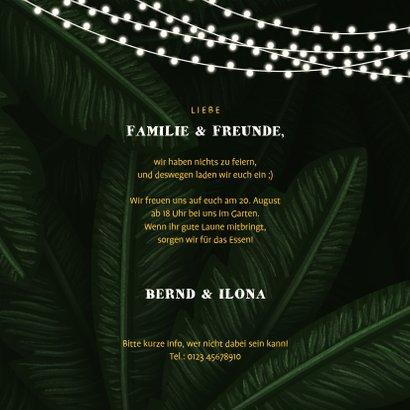 Einladungskarte zum Gartenfest Palmblätter 3