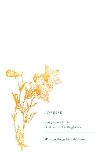 Einladungskarte zum Geburtstag Glockenblume gold 2