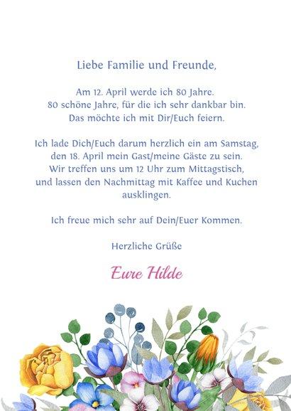 Einladungskarte zum Geburtstag mit Blumenbouquet 3