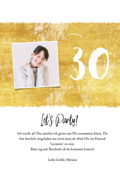Einladungskarte zum Geburtstag mit Foto und Farbstreifen 3