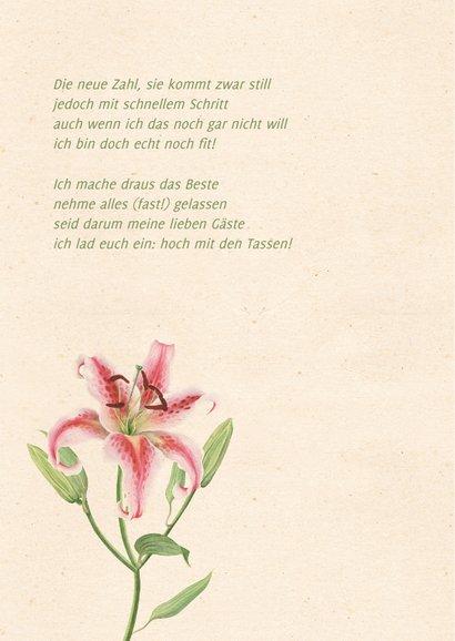 Einladungskarte zum Geburtstag mit rosa Lilie 2