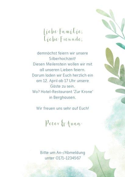 Einladungskarte zum Hochzeitsjubiläum Blätter & Wasserfarbe 3