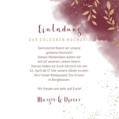 Einladungskarte zum Hochzeitstag goldene Zweige 3