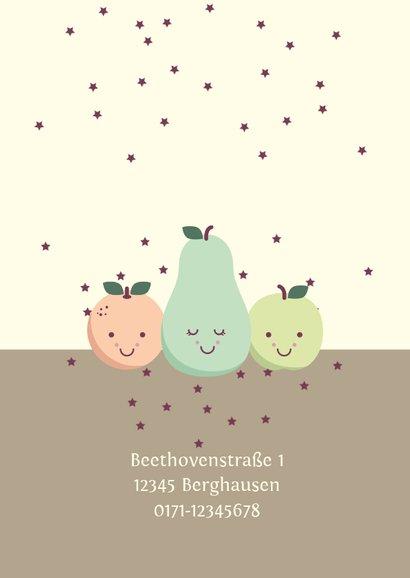 Einladungskarte zum Kindergeburtstag Früchte und Sterne 2