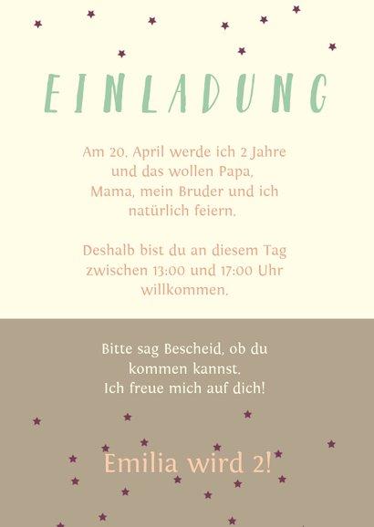 Einladungskarte zum Kindergeburtstag Früchte und Sterne 3
